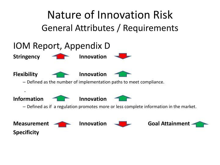 Nature of Innovation Risk