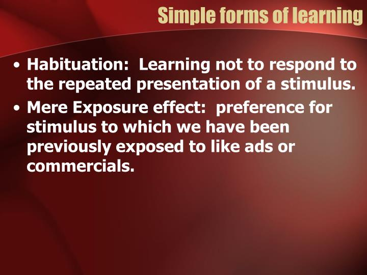Simple forms of learning