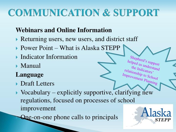 COMMUNICATION & SUPPORT