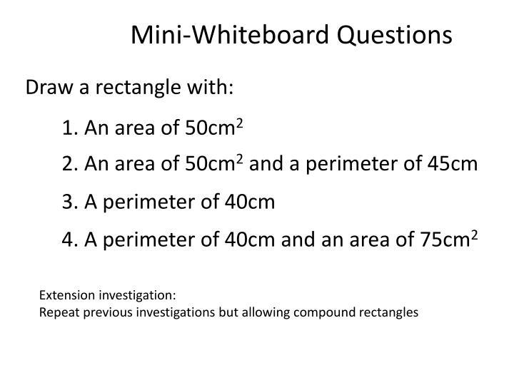 Mini-Whiteboard Questions