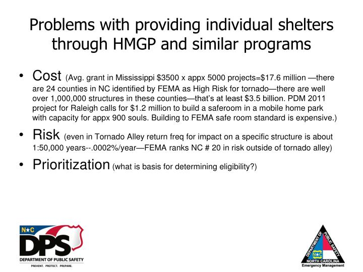Problems with providing individual shelters through hmgp and similar programs