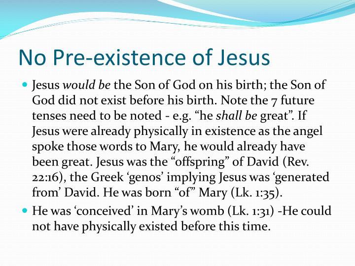 No Pre-existence of Jesus