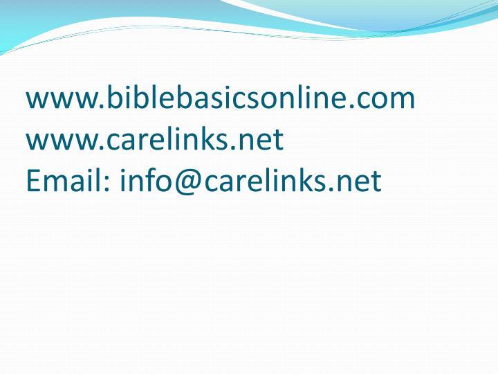 Www biblebasicsonline com www carelinks net email info@carelinks net