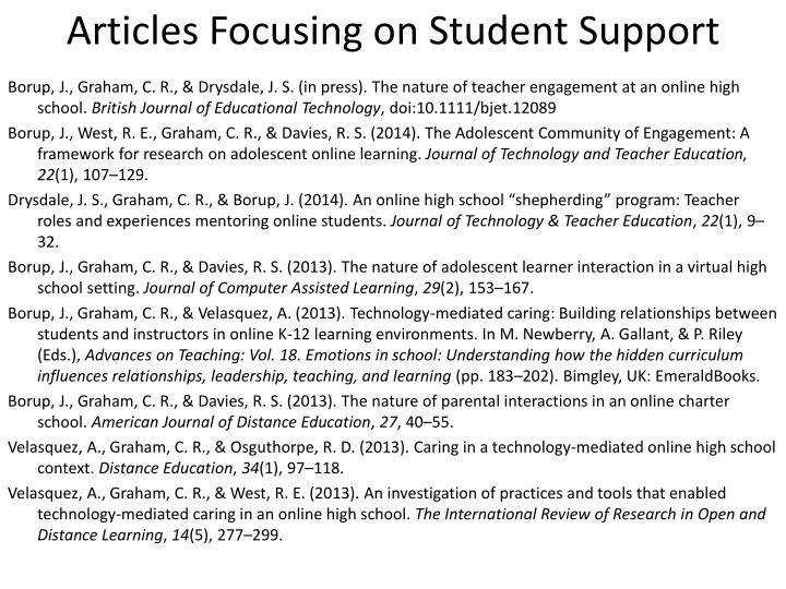 Articles Focusing on Student Support