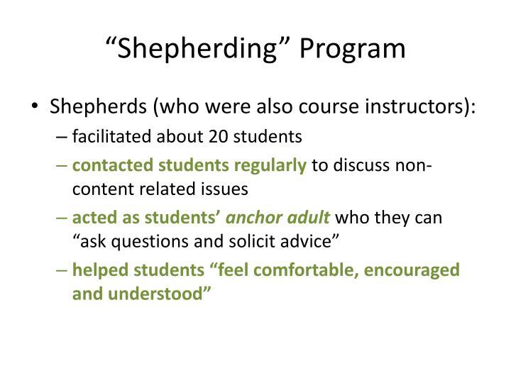 """""""Shepherding"""" Program"""