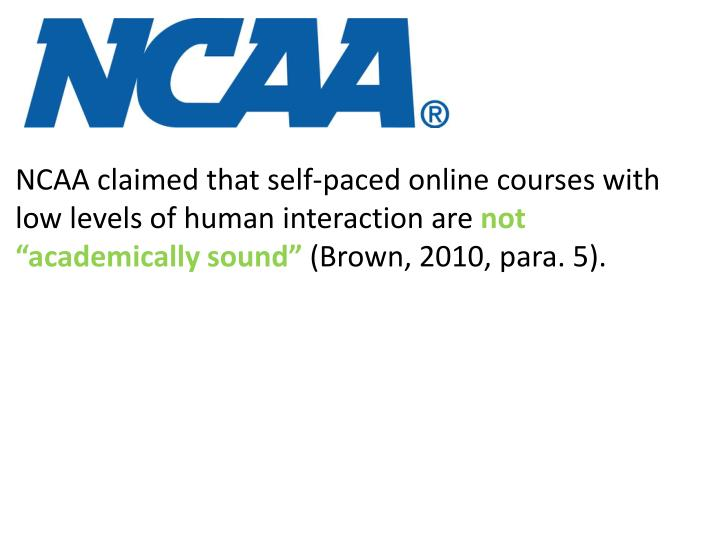 NCAA claimed that