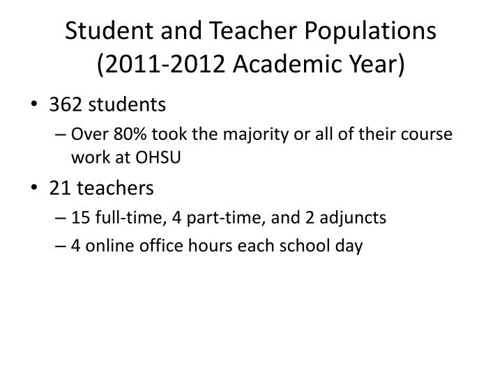 Student and Teacher Populations