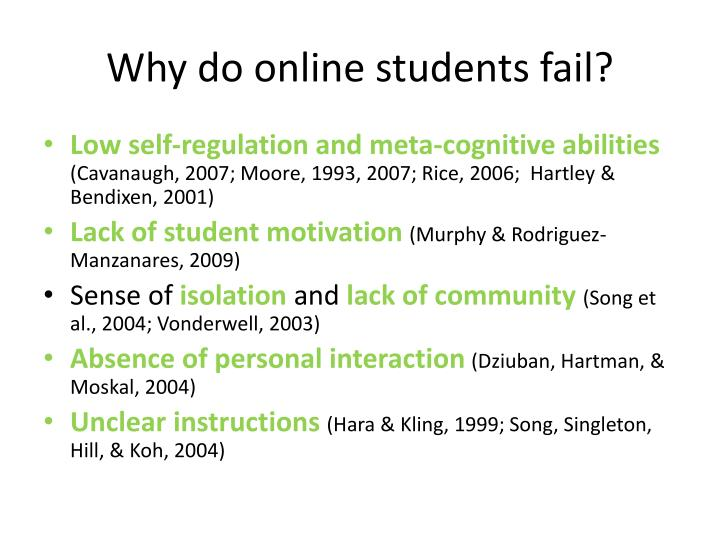Why do online students fail?