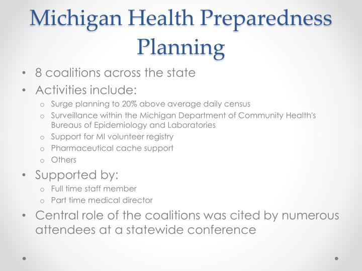 Michigan Health Preparedness Planning