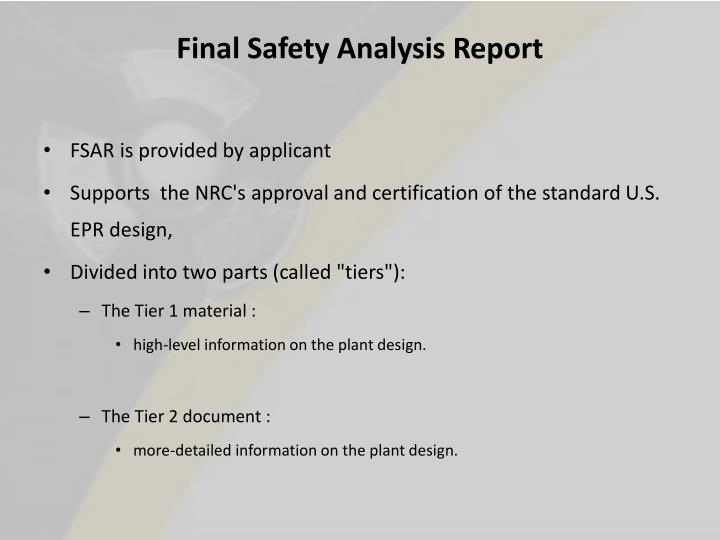 Final Safety Analysis Report