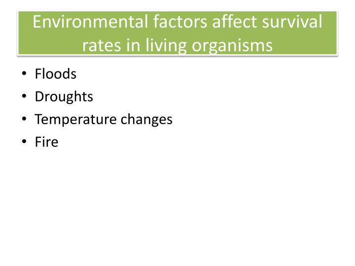 Environmental factors affect survival rates in living organisms