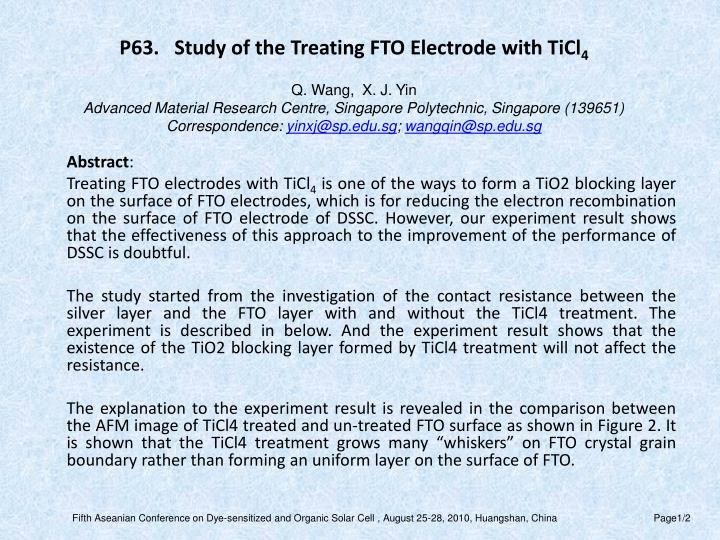 P63.   Study of the Treating FTO Electrode with TiCl
