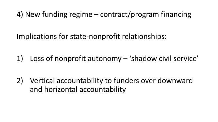 4) New funding regime – contract/program financing