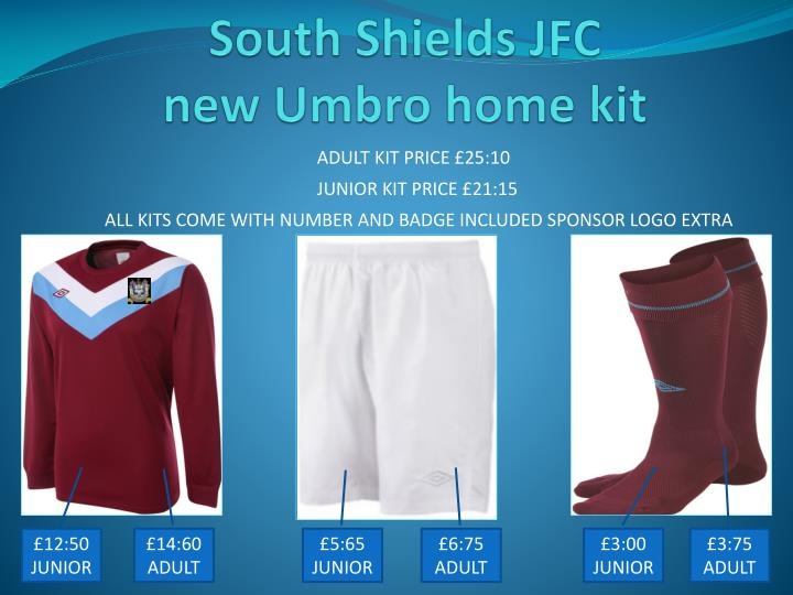 south shields jfc new umbro home kit n.