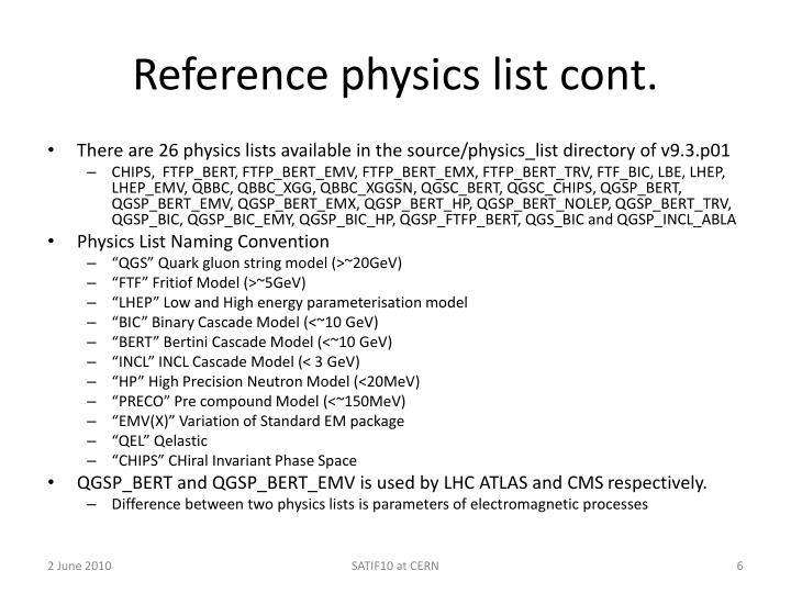 Reference physics list cont.