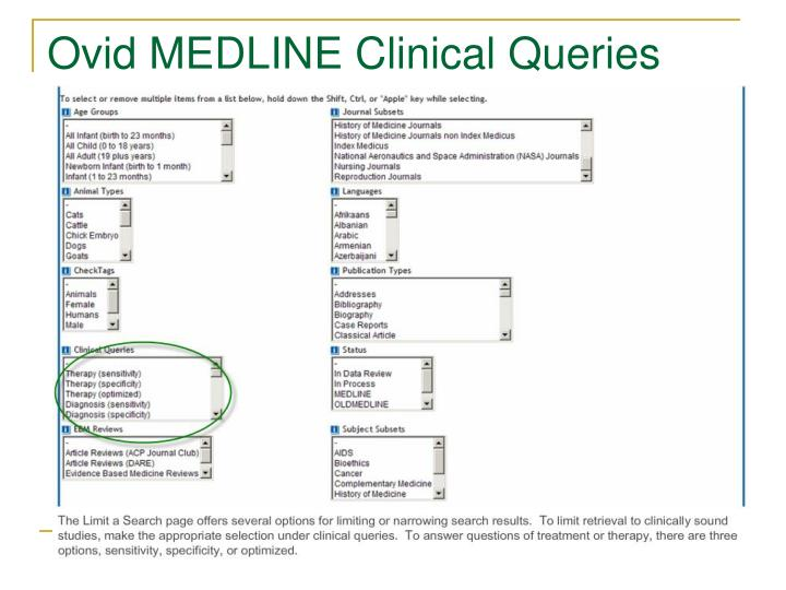 Ovid MEDLINE Clinical Queries