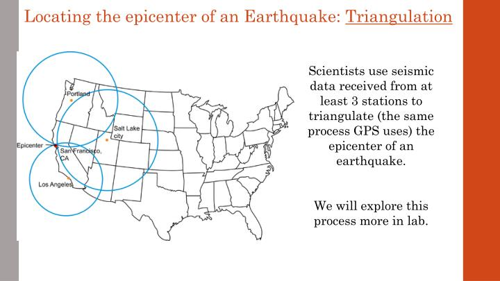 Locating the epicenter of an Earthquake:
