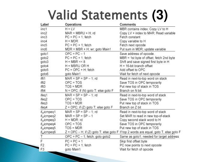 Valid Statements
