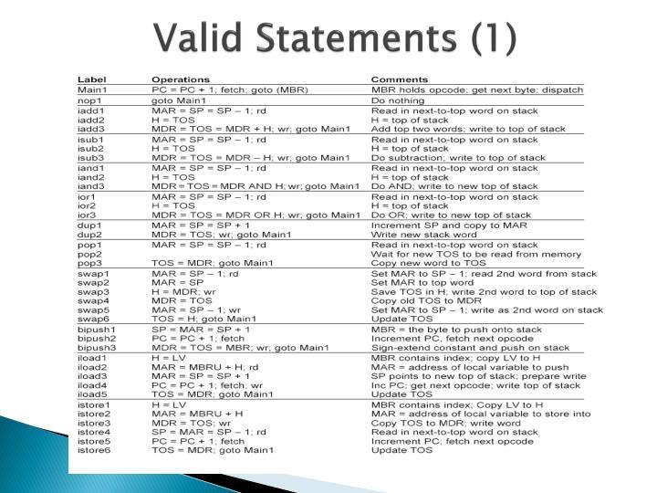Valid Statements (1)