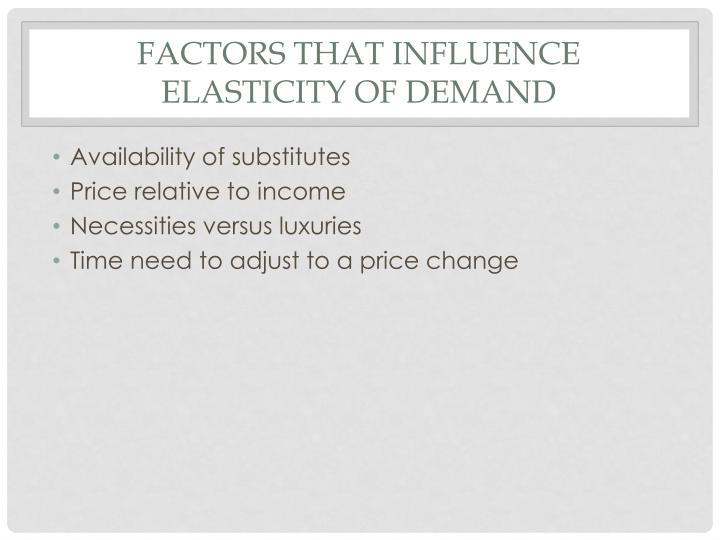 Factors that influence elasticity of demand