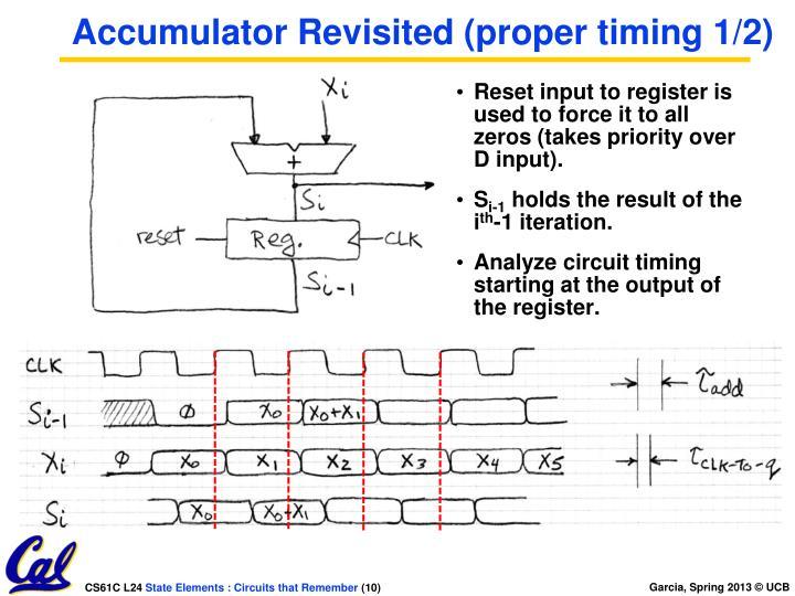 Accumulator Revisited (proper timing 1/2)