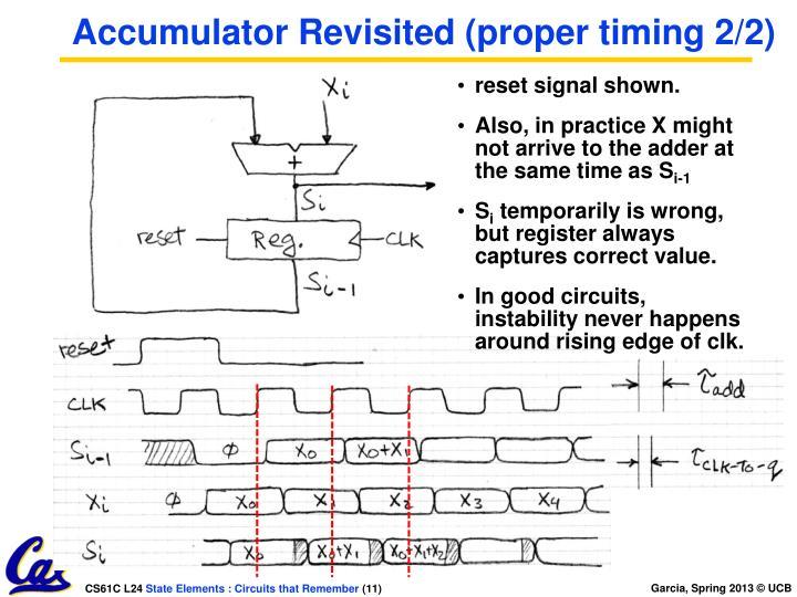 Accumulator Revisited (proper timing 2/2)