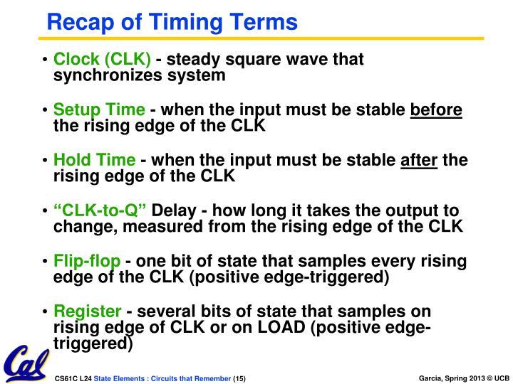 Recap of Timing Terms