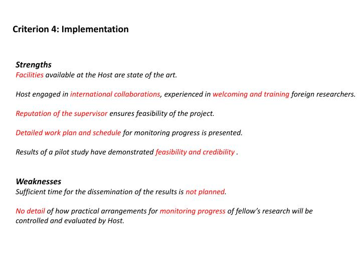 Criterion 4: Implementation