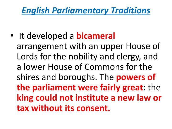 English Parliamentary Traditions
