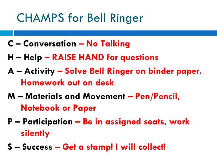 Champs for bell ringer