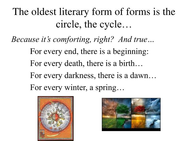 The oldest literary form of forms is the circle, the cycle…