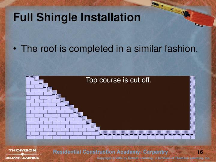 Full Shingle Installation