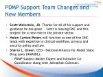 pdmp support team changes and new members