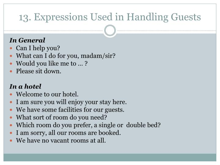 13. Expressions Used in Handling Guests