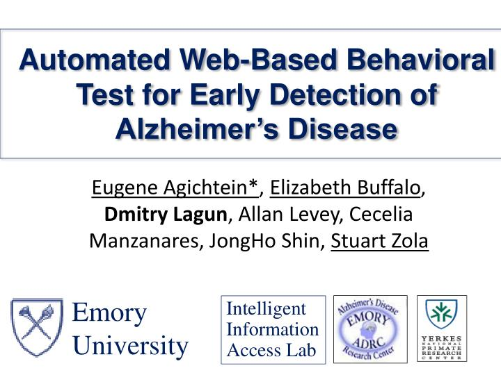 Automated web based behavioral test for early detection of alzheimer s disease