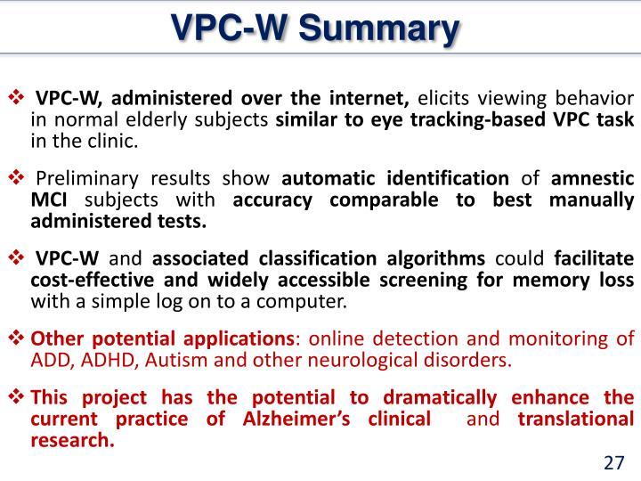 VPC-W Summary