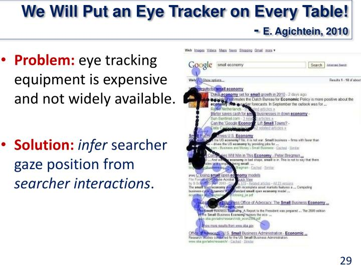 We Will Put an Eye Tracker on Every Table!