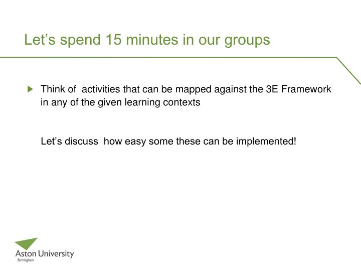 Let s spend 15 minutes in our groups