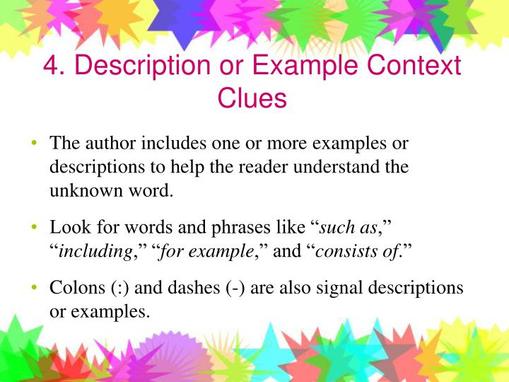 4. Description or Example Context Clues