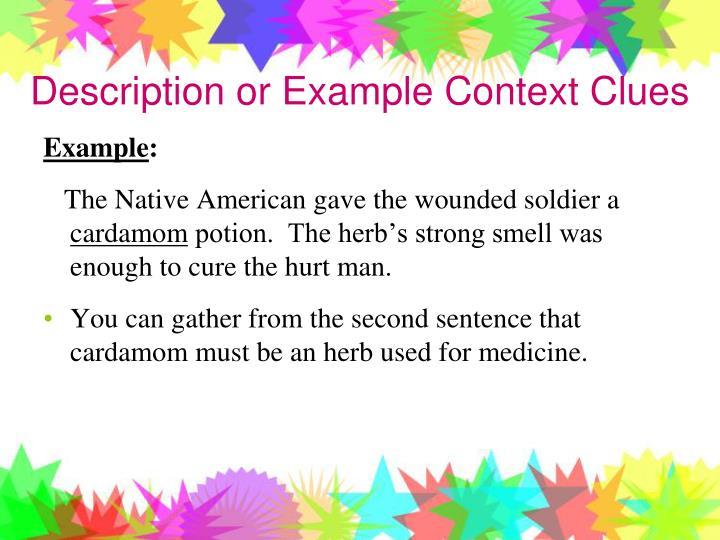 Description or Example Context Clues