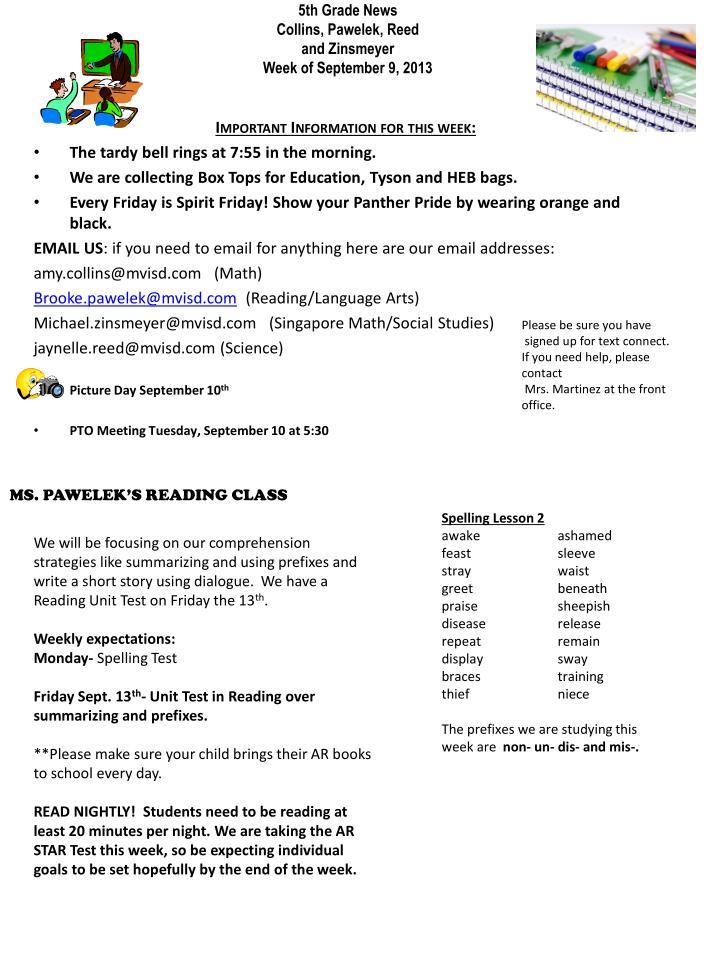 5th grade news collins pawelek reed and zinsmeyer week of september 9 2013