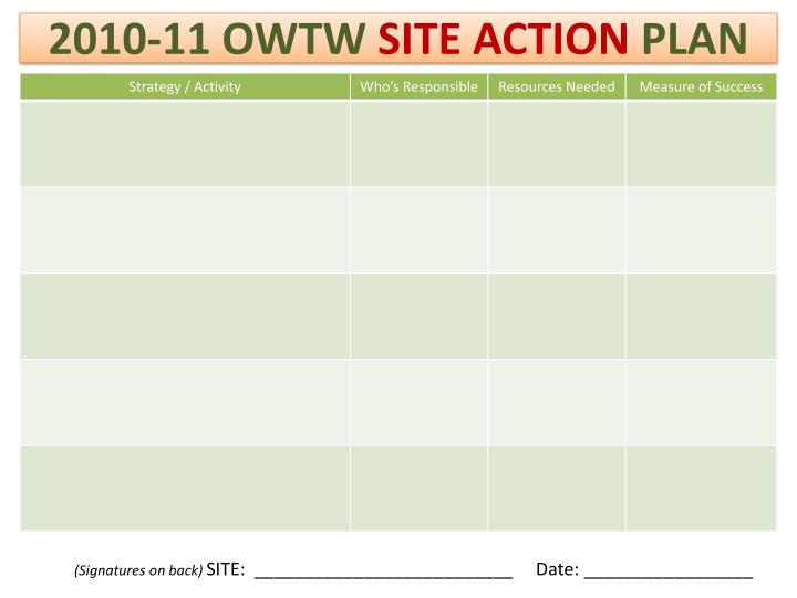 2010 11 owtw site action plan