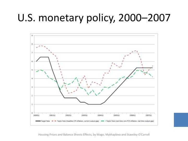 U s monetary policy 2000 2007