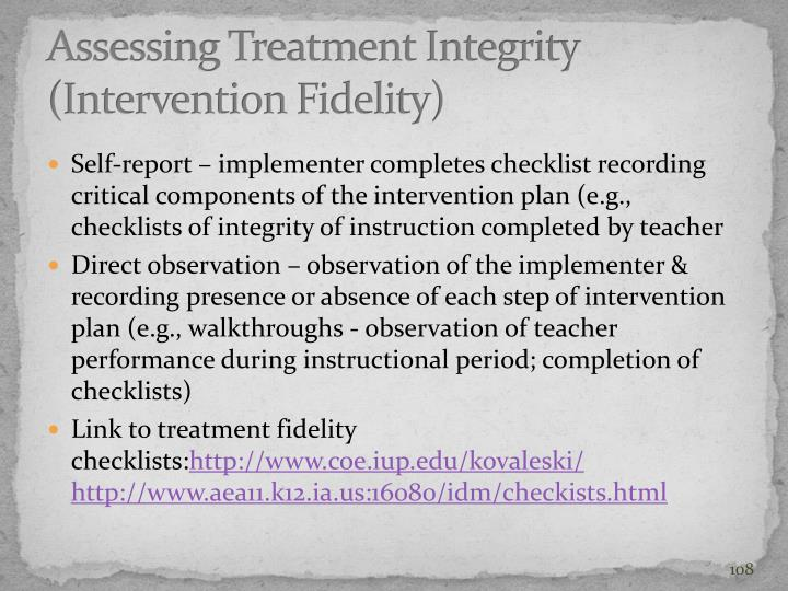 Assessing Treatment Integrity (Intervention Fidelity)