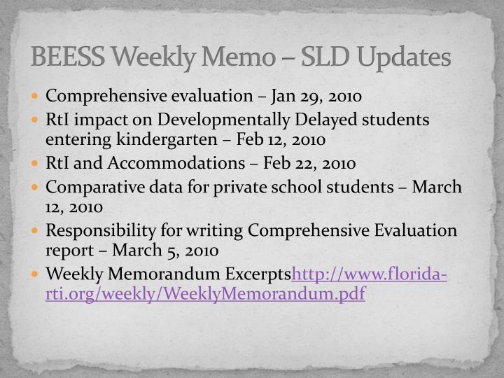 BEESS Weekly Memo – SLD Updates