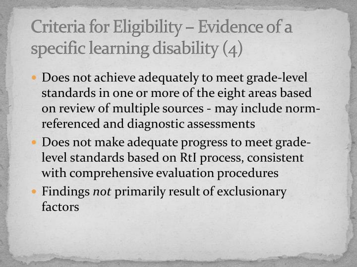 Criteria for Eligibility