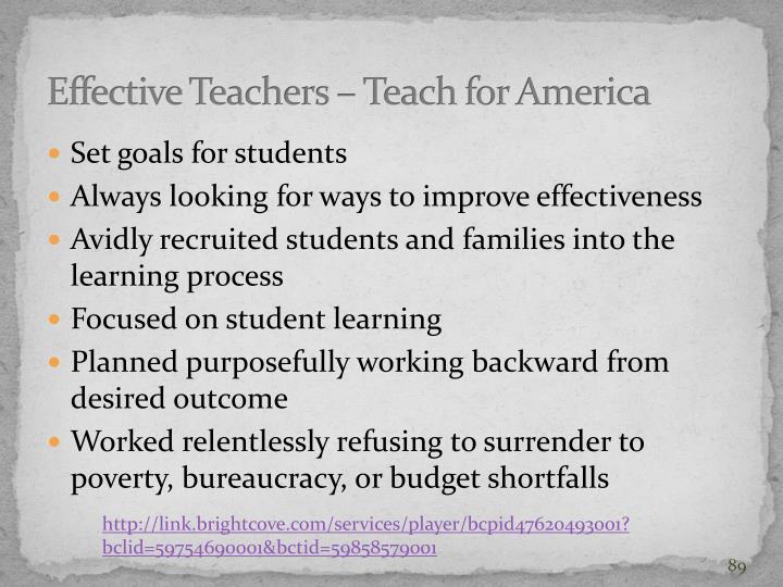 Effective Teachers – Teach for America