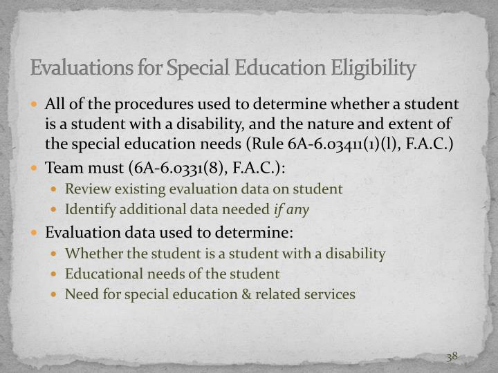 Evaluations for Special Education Eligibility