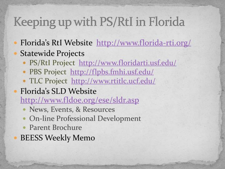 Keeping up with PS/RtI in Florida