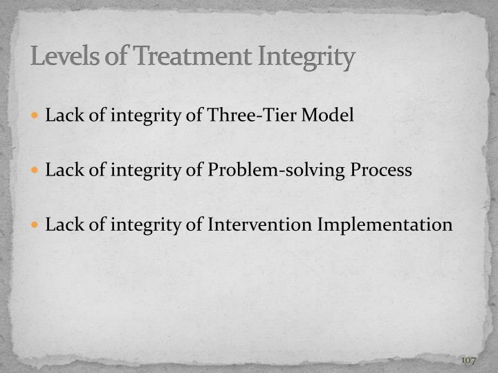 Levels of Treatment Integrity